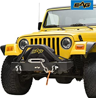 EAG Front Bumper with D-Rings and Winch Plate Fit for 87-06 Jeep Wrangler TJ YJ