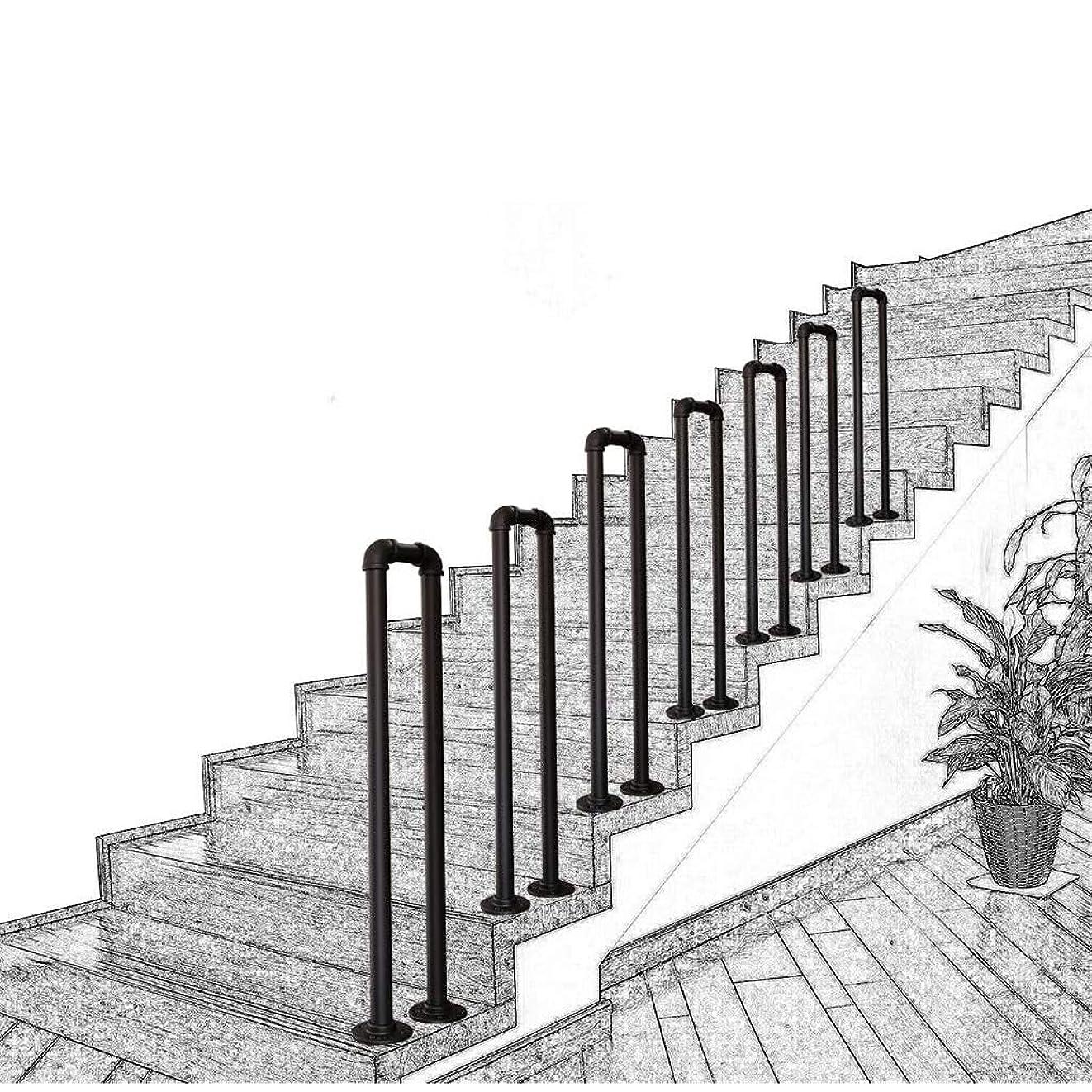 欠員茎酒玄関 階段 回廊 ロフト U字型すべり止め錬鉄パイプ階段の手すり 安全バニスターサポートバー 立ち上がり補助 屋内および屋外用 高齢者の子供 安全?安心 転倒防止 頑丈 錬鉄製の亜鉛メッキパイプ階段の手すり 取り付けが簡単 長さを選択 45cm-95cm レトロバー古い階段 静電無し