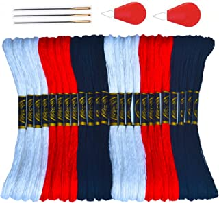 Premium Embroidery Floss-Cross Stitch Threads-Friendship Bracelets Floss-Crafts Floss-Black,White &Red-Hand Embroidery Thread 24 Skeins and Free Set of 3 Embroidery Needles and 2 Floss Bobbins