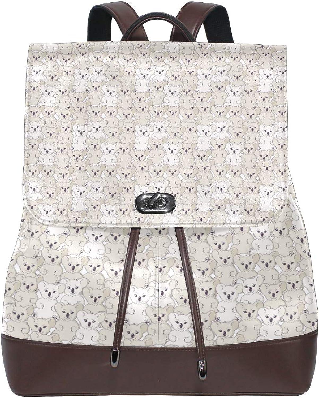 Leather Koala Art Bear Backpack Daypack Elegant Ladies Travel Bag Women Men