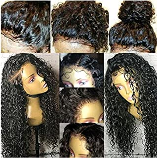 KRN Deep Curly Human Hair Lace Front Wigs for Black Women Full Lace Wigs with Baby Hair Natural Color Per-pulcked (18 Inch, 130% Lace Front Wigs)