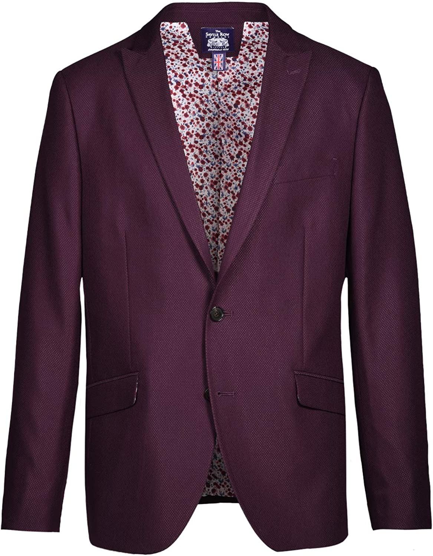 Savile Row Co. Men's Slim Fit Burgundy Stretch Textured Blazer Jacket Sport Coat