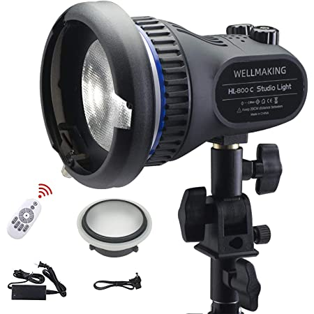 Wellmaking 80W Portable LED Light Continuous Light COB Spotlight Video Light CRI 97+ Dimmable Lightweight Noiseless Fresnel Lens AC/DC Power Supply Bowens Mount Portable Light for Photography