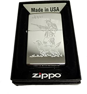 Zippo Custom Lighter - Hunter and Dog Laser Engraving with Name Logo - Regular High Polished Chrome