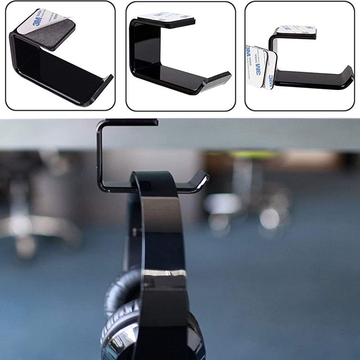 Headphone Stand Hanger with Tape,Headset Display Bracket Mount Holder Under Desk or Hook Wall Table (Black)