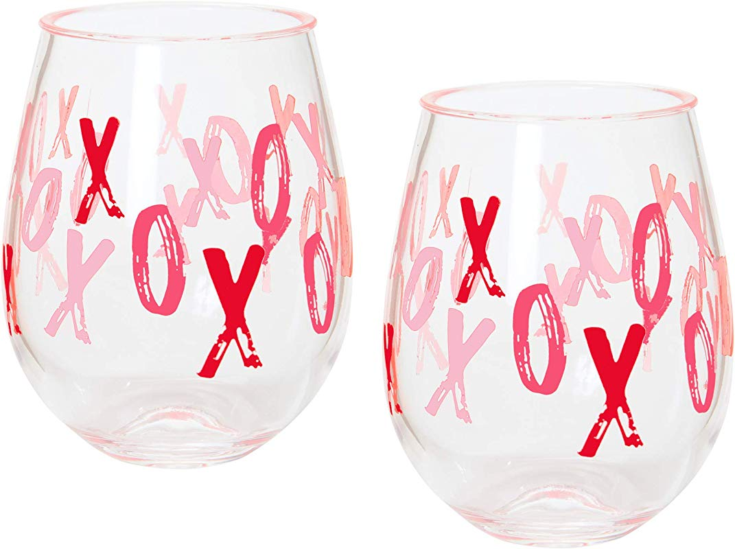 C R Gibson Red XOXO Plastic Stemless Wine Glasses 2pc 12 Oz 3 5 W X 4 5 H