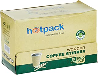 Hotpack Disposable Wooden Coffee Stirrer 19CM- 1000Pcs
