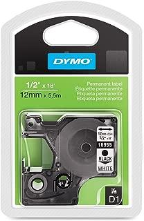 DYMO Model 16955 Black-On-White Permanent Plastic Tape, 1/2in. x 18ft, DYMO Authentic