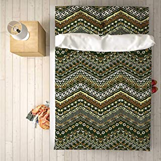 Zambia Soft 4 Piece Bedding Set,African Style Chevron Pattern with Tribal Elegance Ornament Design for Bedroom,One Side Print : Singe