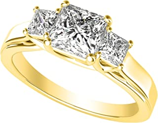 3 Three Stone Princess Diamond Engagement Ring 14K Yellow Gold (I-J Color Value)