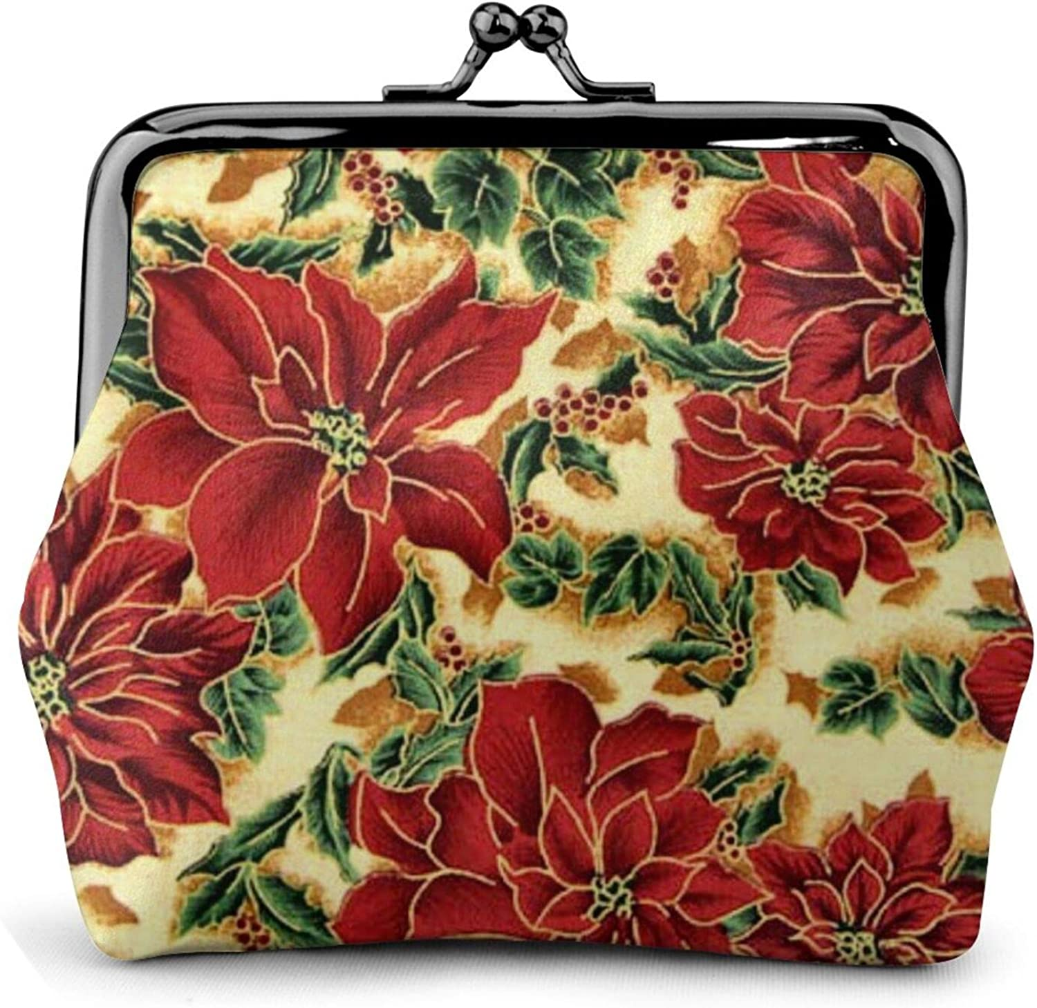 christmas floral pattern Buckle Coin Purses Women's Kiss-lock Closure Mini Vintage Pouch Leather Hasp Makeup Wallets Card Holder Cute for Men Women Girls Bags