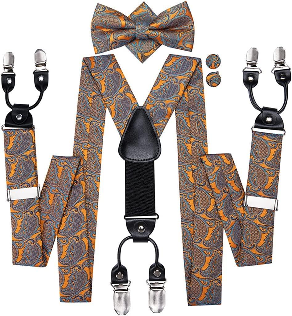 JJZXC Mens Suspender Set 6 Clips On Men Vintage Braces Adjustable Suspenders With Pocket Square Bow Tie Cufflinks (Color : A, Size : Adjustable)