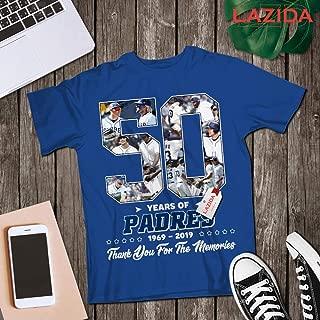 LAZIDA San Diego Baseball 50th Anniversary 1969-2019 Thank You For The Memories Fan Jersey T-Shirt   Hoodie   Tank Top   Sweatshirt   Long Sleeve