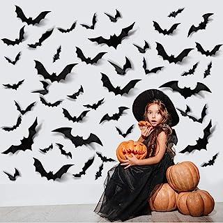 ZPOKA 60PCS Halloween Party Supplies PVC 3D Decoration Realistic Horror Bat Wall Decal Wall Sticker, DIY Halloween Decorat...