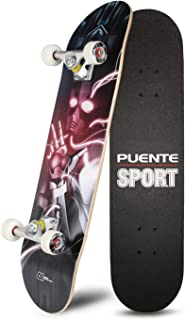 PUENTE 31 inch Complete Skateboards, Skateboard for Kids/Boys/Girls/Youth/Adults, Tricks Skate Board for Beginners & Pro, Double Kick 7 Layer Canadian Maple Wood Concave Skateboard