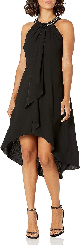 S.L. Fashions Women's Jewel Halter Sheath Dress (Petite and Regular)