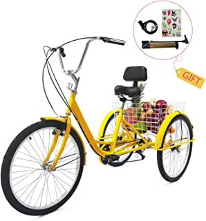 EOSAGA Adult Tricycle 7 Speed 24/26 InchTrike Cruiser Bike Three-Wheeled BicycleBrake System and Basket Cruiser Bicycles Size for Shopping,Recreation with Large Basket, Lock, Bike Pump