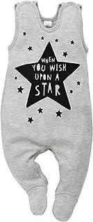 Pinokio Happy Day - Baby Mädchen Strampler Baumwolle, Grau mit Stern oder Schwarz Weiß hi - Strampelanzug Schlafanzug, Mädchen Stars 74