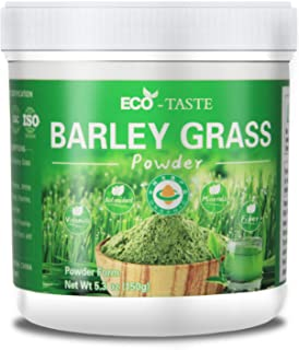 Organic Barley Grass Powder - 100% Pure Raw, 5.3oz (150g), Perfect for Beverage, Smoothie and Dessert, Rich in Proteins, Amino Acids, Vitamins, Minerals and Fiber