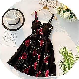 Bohemian Button Sexy Vintage Summer Floral Print Spaghetti Strap Dress Mini Short
