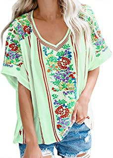 Summer Tops for Women 2019 Prime Tronet Women's Ladies Sexy V-Neck Short Sleeve Print Loose Pullover Shirt Tops