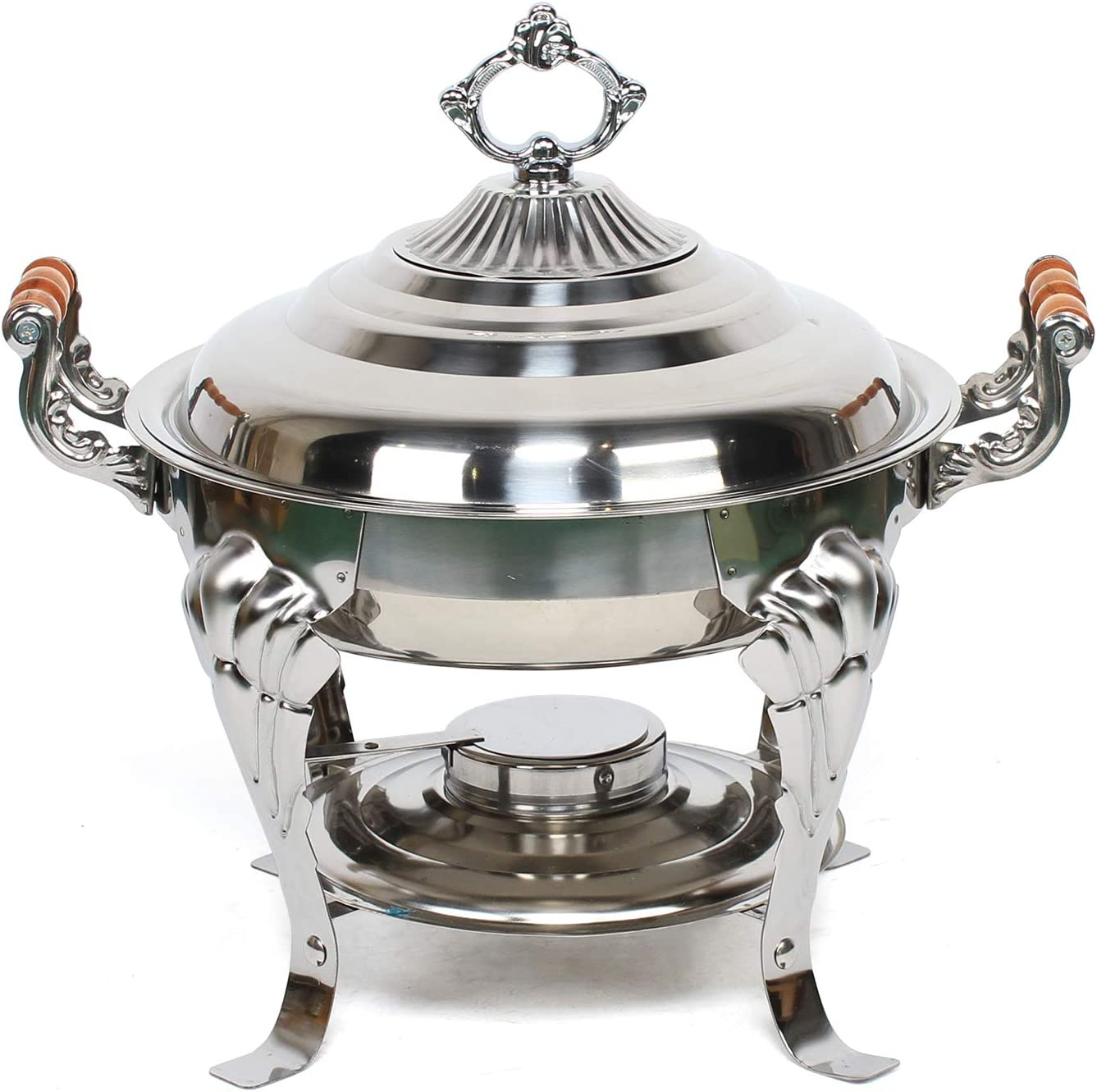 Round Chafing Dish Stainless Steel for Roll Denver Inventory cleanup selling sale Mall Chafer Ca Top