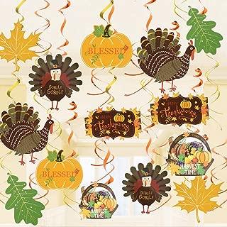 36 PCS Thanksgiving Day Hanging Swirl Decorations Fall Autumn Streamers Decor Turkey Maple Pumpkins Yellow Orange Party Supplies