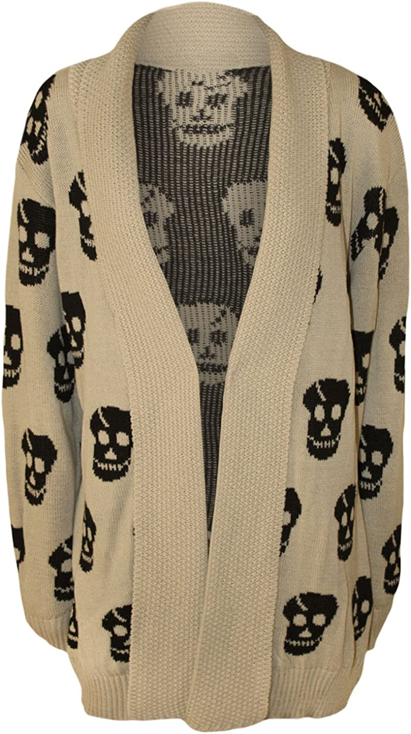 WearAll Women's Plus Size Skull Long Sleeve Knitted Cardigan - Stone - US 20-22 (UK 24-26)