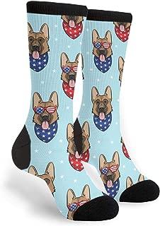 Patriotic German Shepherd Men's Dress Crew Socks Casual Business Socks