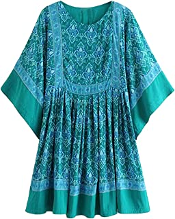 Women's Summer Cotton Half Sleeve Casual Loose Bohemian Floral Tunic Dresses