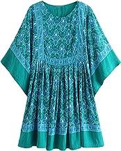 R.Vivimos Women's Summer Cotton Half Sleeve Casual Loose Bohemian Floral Tunic Dresses