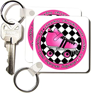 3dRose Derby Chicks Roll with It Hot Pink Roller Skate and White Key Chains, Set of 2 (kc_28518_1)