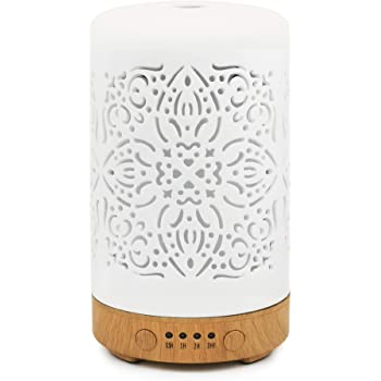 Earnest Living Essential Oil Diffuser White Ceramic Diffuser Ver 2 - No Beep Noise - 4 Timers 100 ml Night Lights and Auto Off Function Home Office Humidifier Aromatherapy Diffusers for Essential Oils