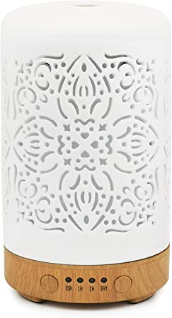 Earnest Living Scented Oil Diffusers for Essential Oils White Ceramic with Timer (Classic)