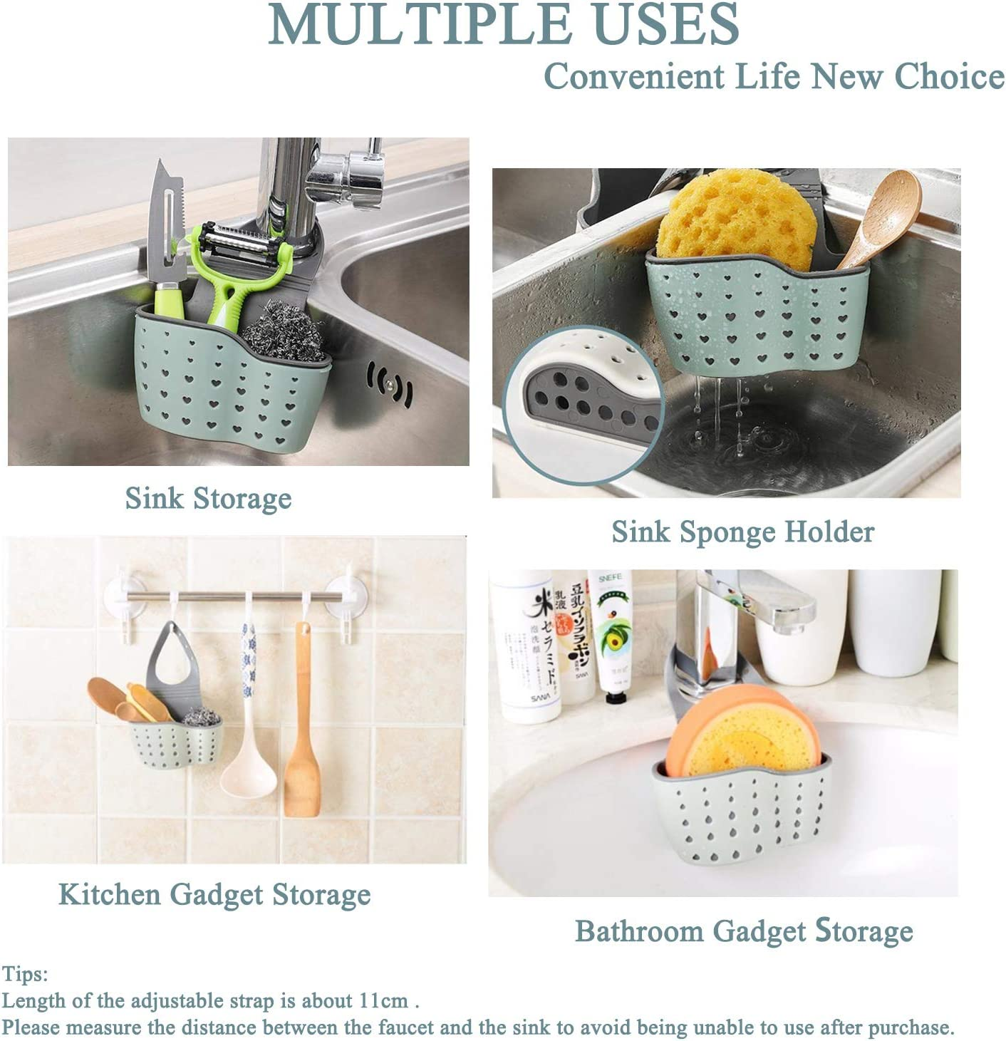 1PCS,Beige Sink Sponge Soap Caddy over Faucet Keep Kitchen Organized Silicone Sponge Caddy with Drain Holes for Drying Double Hanging Ajustable Strap Sink Caddy Sponge Holder for Sink