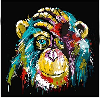 5D Diamond Painting Kits DIY Full Drill Diamond Painting by Number Kits Crystal Rhinestone Diamond Embroidery Paintings Pictures Arts Craft for Home Wall Decor (Monkey)