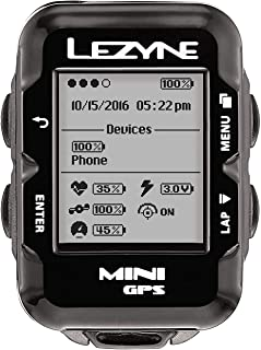 LEZYNE Mini Cycling GPS Computer, USB Rechargeable, 10 Hour Runtime, Stores 100 Hours of Data, Compact Bicycle GPS