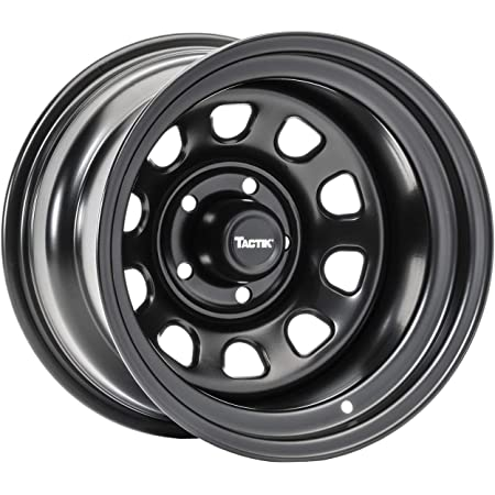 TACTIK D Window Classic 15 Inch Wheel for Jeep Wrangler 1987-2006, 5x4.5 Bolt Pattern, 15x8 (-12.7mm Offset), 4 Inch Backspace, Satin Black