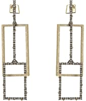 Alexis Bittar - Crystal Encrusted Brutalist Link Post Earrings