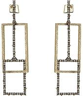 Alexis Bittar - Crystal Encrusted Brutalist Link Post Earrings