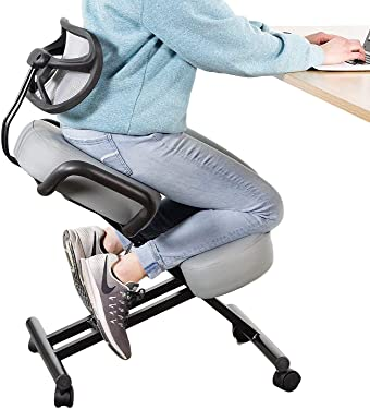 DRAGONN by VIVO Ergonomic Kneeling Chair with Back Support, Adjustable Stool for Home and Office with Angled Seat for Better Posture - Thick Comfortable Cushions, Gray, DN-CH-K02G