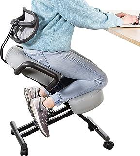DRAGONN Silla ergonómica con soporte de espalda, taburete ajustable para el hogar y la oficina con asiento en ángulo para una mejor postura – cojines gruesos y cómodos, gris (DN-CH-K02G)