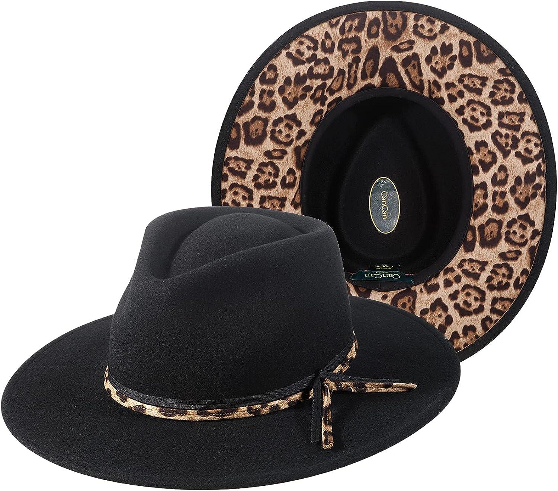 Fedora Hats for Women Men, 100% Australian Wool Wide Brim Fedoras Hat Two Tone Felt Panama Hat with Belt Leopard Bottom