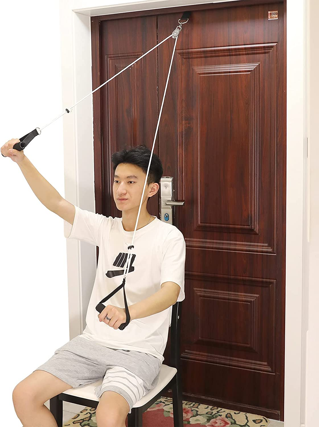 Fanwer Shoulder Pulley, Over the Door Pulley System for Shoulder Rehab, Overhead Exercise Pulley for Physical Therapy, Assisting Rotator Cuff Recovery, Increase Flexibility Stretching, Range of Motion