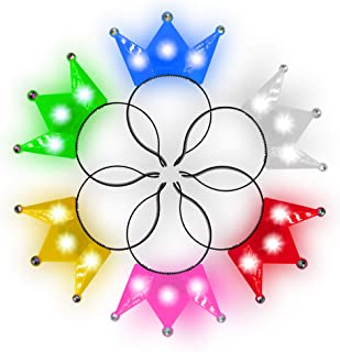 Fun Central 12 Pack - LED Crown Headband - Light Up Crowns and Tiaras for Girls- Assorted Colors