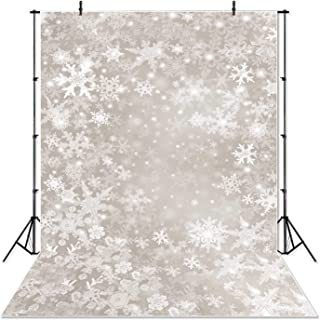 SeekPro 5x7ft Holiday Snow Flakes Christmas Backdrops Photography Frozen Snow Wood Floor Background Children Photo Studio Backdrop