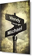 DECORARTS - Lovers Crossroads - Personalized Metal Transprinting Artwork, Includes Names and The Special Date for The Wedding Anniversary.12 x08