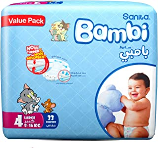 Sanita Bambi Baby Diapers Value Pack Size 4, Large, 8-16 KG, 33 Count
