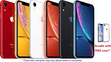 $1149 Get Apple iPhone XR 6.1-inch Unlocked GSM+CDMA, Yellow, Red, Blue, Black, Coral, White, Pick Your Color, Bundle with Free Case (256GB)