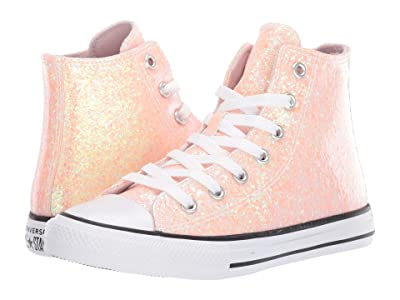 Converse Kids Chuck Taylor(r) All Star(r) Gloss Hi (Little Kid/Big Kid) (Barely Rose/Black/White) Girls Shoes